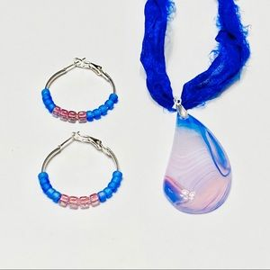 CLOUD 9 Striped Onyx Shorter Necklace & Earrings